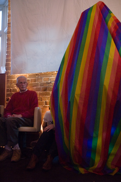 Ron Austin and covered Christmas Gay Tree
