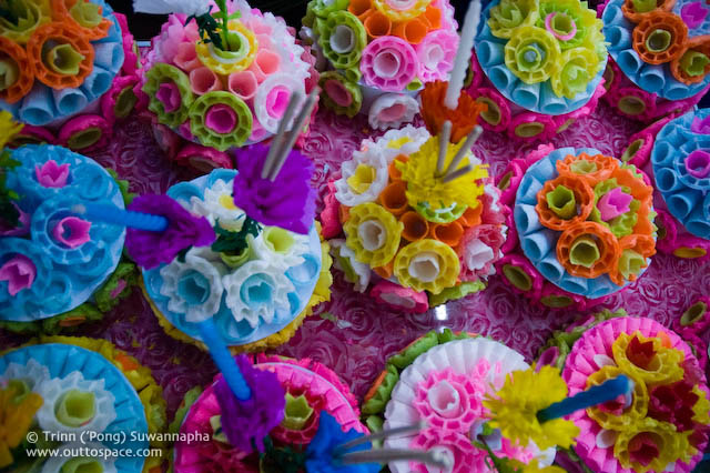 Colourful krathongs made of ice-cream cones