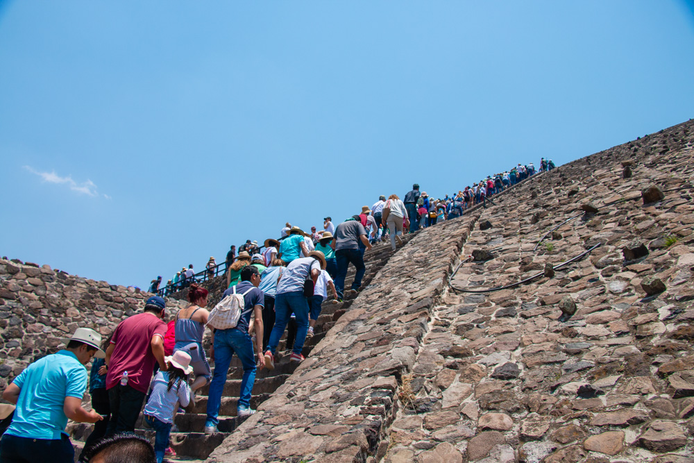 Climbing up Pyramid of the Sun
