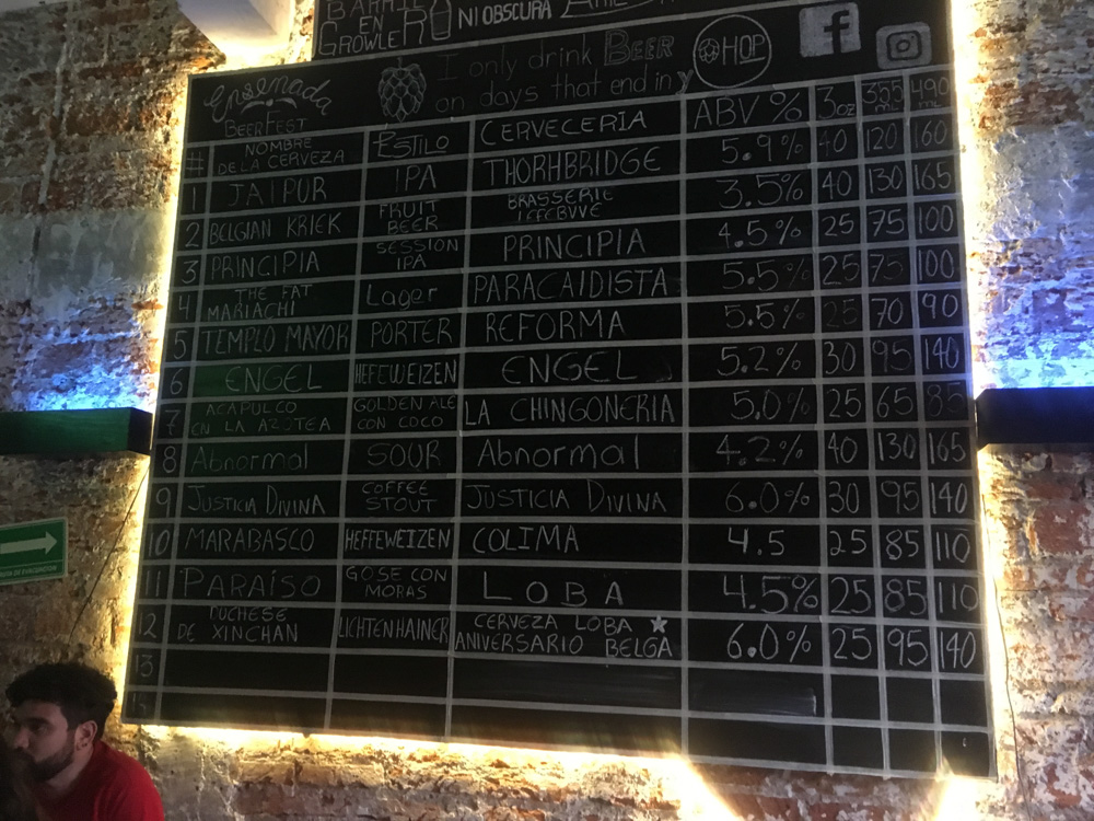 Beer board at HOP The Beer Experience