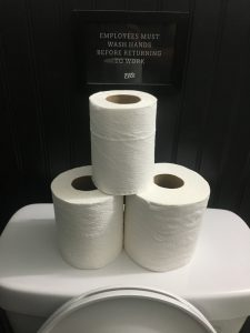 With toilet paper rolls