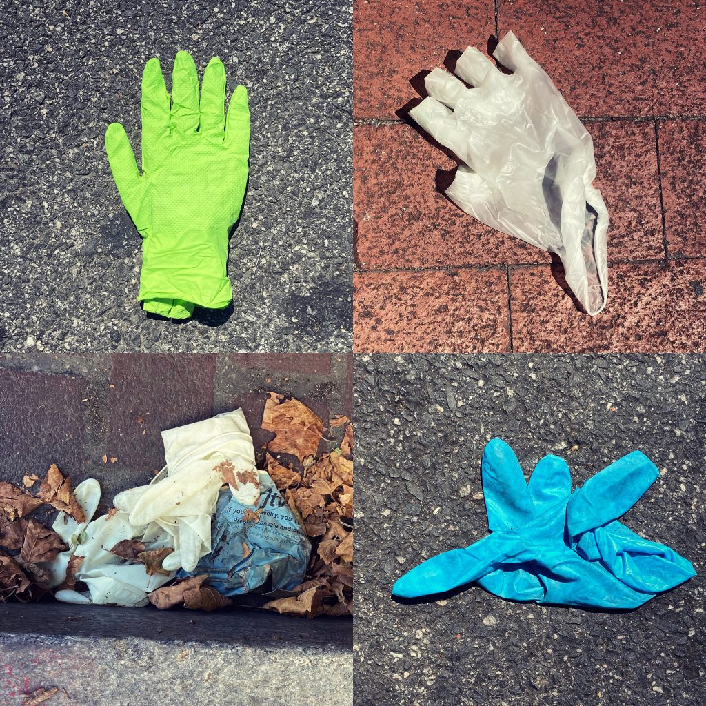 Four+one gloves: white, green, and blue