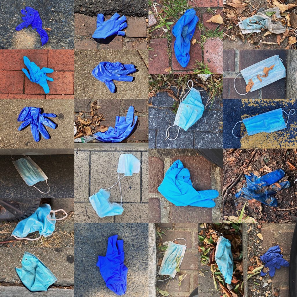 Ten masks and eleven gloves in the shades of blue