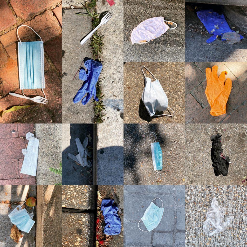 Seven masks, seven gloves and two plastic forks